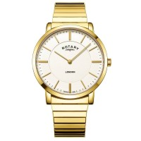 Rotary Mens London White Dial Gold Plated Expandable Bracelet Watch GB02766/03