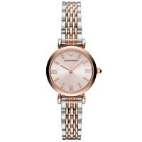 Emporio Armani Ladies Pink Dial Two Tone Bracelet Watch AR11223