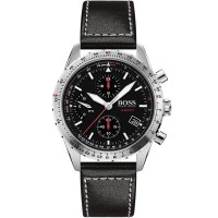 BOSS Mens Aero Black Chronograph Dial Leather Strap Watch 1513770