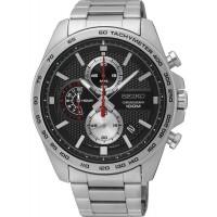 Seiko Mens Chronograph Quartz Black Dial Bracelet Watch SSB255P1