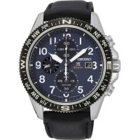 Seiko Mens Prospex Land Solar Stainless Steel Blue Chronograph Dial Black Leather Strap Watch SSC737P1