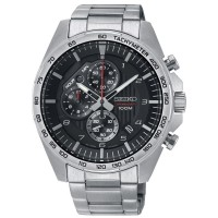 Seiko Mens Quartz Black Chronograph Bracelet Watch SSB319P1