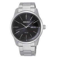 Seiko Mens Solar Black Day Date Dial Stainless Steel Bracelet Watch SNE527P1