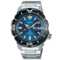 Seiko Mens Prospex Save The Ocean Automatic Monster Stainless Steel Bracelet Watch SRPE09K1