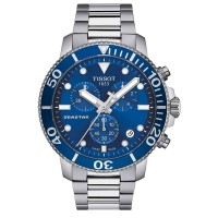 Tissot Mens T-Sport Seastar 1000 Chronograph Blue Dial Stainless Steel Bracelet Watch T120.417.11.041.00