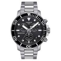 Tissot Mens T-Sport Seastar 1000 Chronograph Black Dial Stainless Steel Bracelet Watch T120.417.11.051.00