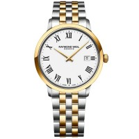 Raymond Weil Mens Toccata Two Tone Classic White Roman Numeral Dial Bracelet Watch 5485-STP-00300
