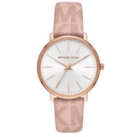 Michael Kors Ladies Pyper Rose Gold Plated White Dial Pink Logo Coated Canvas Strap Watch MK2859