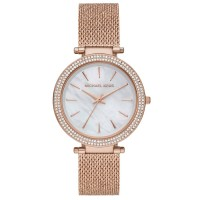 Michael Kors Ladies Darci Mother Of Pearl Dial Crystal Set Bezel Rose Gold Plated Mesh Strap Watch MK4519
