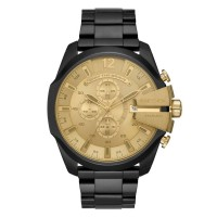 Diesel Mens Mega Chief Gold Chronograph Dial Black Bracelet Watch DZ4485