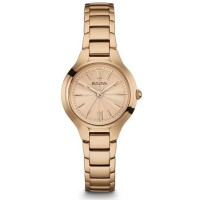 Bulova Ladies Classic Rose Dial Rose Gold Plated Bracelet Watch 97L151