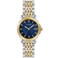 Bulova Ladies Classic Stainless Steel Navy Blue Date Dial Two Tone Bracelet Watch 98M124