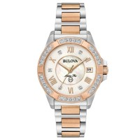 Bulova Ladies Marine Star Stainless Steel White Date Dial Diamond Set Rose Gold Plated Two Tone Bracelet Watch 98R234