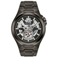 Bulova Mens Maquina Classic Automatic Skeleton Dial Gunmetal Bracelet Watch 98A179