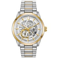Bulova Mens Sutton Classic Skeleton Dial Gold Plated Two Tone Bracelet Watch 98A214