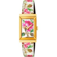 Gucci Ladies G-Frame Gold Plated Rectangle Bloom Strap Watch YA147406