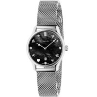 Gucci Ladies G-Timeless Stainless Steel House Motifs Black Dial Mesh Strap Watch YA1265001