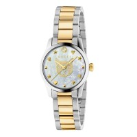 Gucci Ladies G-Timeless White Mother Of Pearl Dial Two Colour Bracelet Watch YA1265012