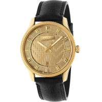 Gucci Mens G-Timeless New Automatic Chevron Dial Leather Strap Watch YA126340