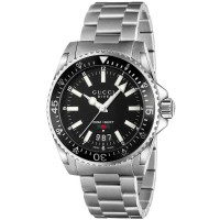 Gucci Dive Stainless Steel Black Dial Bracelet Watch YA136301A