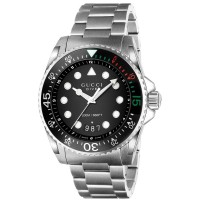 Gucci Dive XL Stainless Steel Black Dial Bracelet Watch YA136208A
