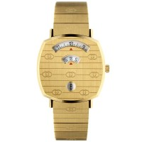 Gucci Mens Grip Gold Plated Covered Dial Bracelet Watch YA157403