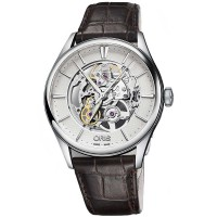 Oris Mens Artelier Skeleton Black Leather Strap Watch 734 7721 4051-07LS