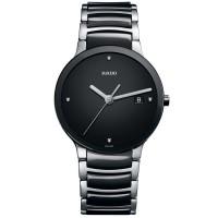 Rado Mens Centrix Diamonds Jubile Quartz Black and Silver Ceramic Bracelet Watch R30934712 L