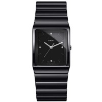 Rado Mens Ceramica Diamonds Quartz Black Ceramic Bracelet Watch R21700702 L