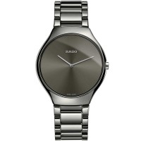 Rado Mens True Thinline Quartz Grey Ceramic Bracelet Watch R27955122 L