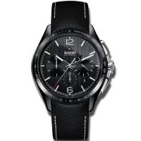 Rado Mens HyperChrome Automatic Chronograph Black Leather Strap Watch R32121155