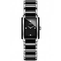 Rado Ladies Integral Diamonds Quartz Black and Silver Ceramic Bracelet Watch R20613712 S