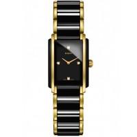 Rado Ladies Integral Diamonds Quartz Black and Gold Ceramic Bracelet Watch R20845712 S