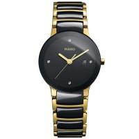 Rado Ladies Centrix Diamonds Quartz Black and Gold Ceramic Bracelet Watch R30930712 S