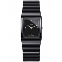 Rado Ladies Ceramica Diamonds Quartz Black Ceramic Bracelet Watch R21702702 S