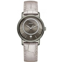 Rado Ladies DiaMaster Diamonds Quartz Silver Leather Strap Watch R14064715