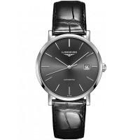Longines Mens Elegant Sunray Grey Dial Black Leather Strap Watch L4.910.3.72.7