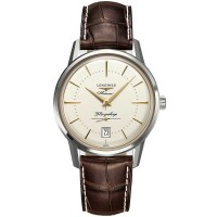 Longines Mens Flagship Heritage Brown Leather Strap Watch L4.795.3.78.7