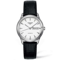 Longines Mens Flagship White Dial Black Leather Strap Watch L4.899.3.12.7