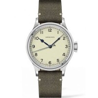 Longines Mens Heritage Military Green Leather Strap Watch L2.819.3.93.7