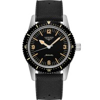 Longines Mens Heritage Skin Diver Black Fabric Strap Watch L2.822.3.56.7