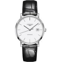 Longines Mens Elegant White Dial Black Leather Strap Watch L4.910.3.12.7