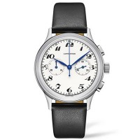 Longines Mens Heritage Classic Automatic Chronograpgh Black Leather Strap Watch L2.827.3.73.7