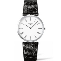 Longines Ladies La Grande Classique White Dial Black Leather Strap Watch L4.755.3.11.7