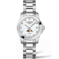 Longines Ladies Conquest Moonphase Diamond Set Mother Of Pearl Dial Bracelet Watch L3.380.3.87.7