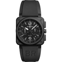 Bell & Ross Mens Instruments Black Ceramic Chronograph Watch BR0394-BL-CE