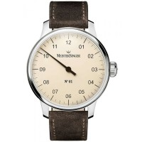 MeisterSinger Mens No. 01 Leather Strap Watch AM3303