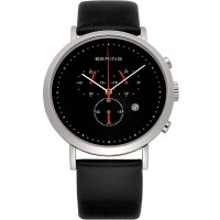 Bering Mens Black Chronograph Leather Strap Watch 10540-402