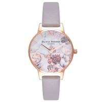 Olivia Burton Marble Florals Rose Gold And Lilac Leather Strap Watch OB16CS14