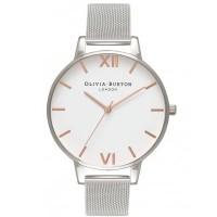 Olivia Burton White Dial Rose Gold And Silver Mesh Bracelet Watch OB16BD97